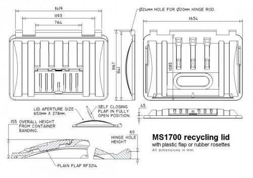 MS1700RM-ROS Recycling lid with rubber rosettes