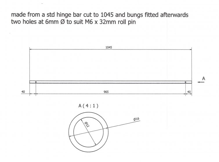 Hinge Bar for 1100 ltr Mk1 lids. Accessories & Spare Parts drawing