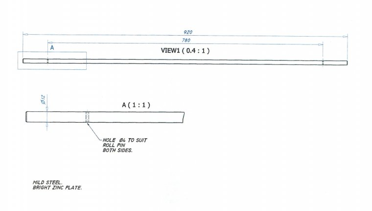 Hinge Bar for MK3935 lid Accessories & Spare Parts drawing