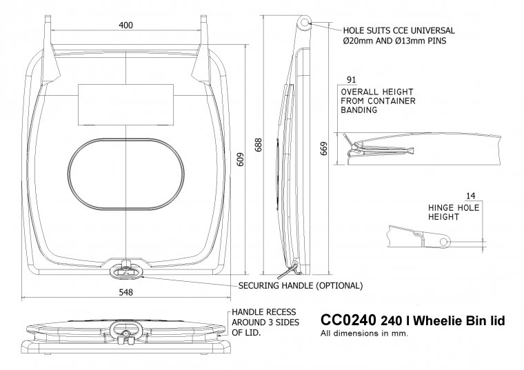 Rotomoulded 240 l Wheelie Bin lid Other drawing