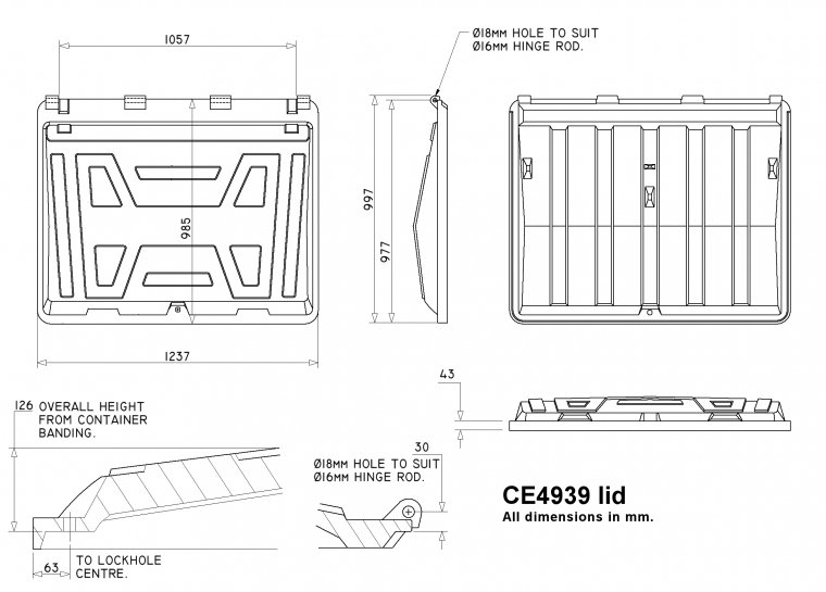 CE4939 Trade Waste Container lid Trade Waste / 4 Wheeled Container Lids drawing