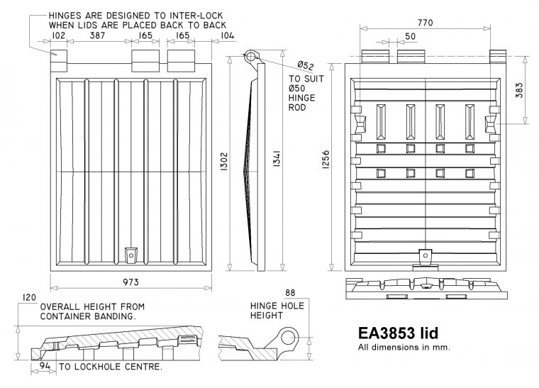 EA3853 Eurocontainer lid Rear End Loader Lids & Doors drawing