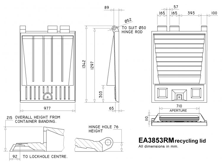 EA3853RM Recycling Lid Rear End Loader Lids & Doors drawing