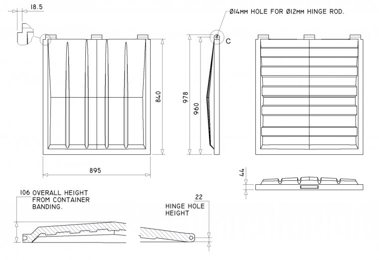 FL3538 Front End Loader lid Front End Loader Lids & Doors drawing