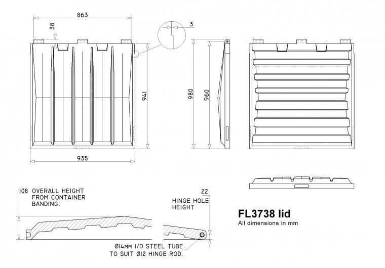 FL3738 Front End Loader lid Front End Loader Lids & Doors drawing