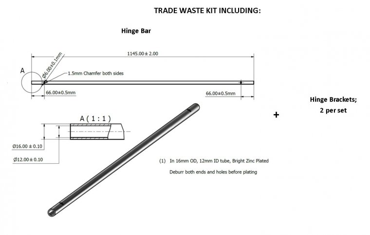 Trade Waste Bar & Bracket Kit Accessories & Spare Parts drawing
