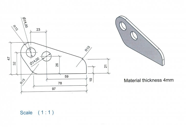 Hinge Plates for FEL lids Accessories & Spare Parts drawing