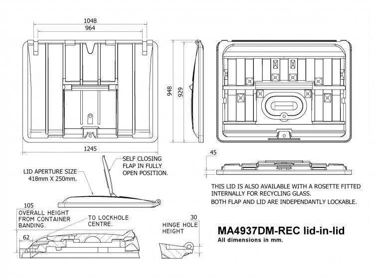 MA4937DM-REC 1100 Litre Lid-in-Lid Trade Waste / 4 Wheeled Container Lids drawing