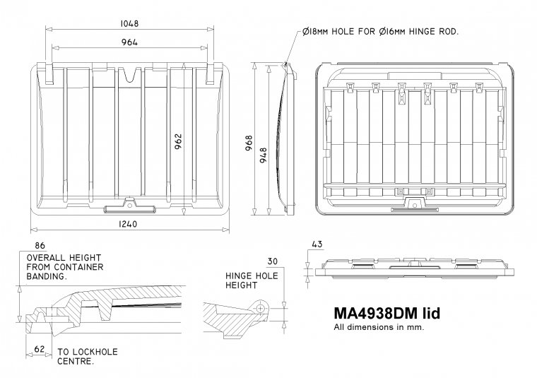MA4938 1100 Litre Trade Waste Container lid Trade Waste / 4 Wheeled Container Lids drawing