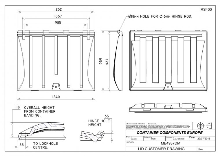 ME4937 1100 Litre Trade Waste Container lid Trade Waste / 4 Wheeled Container Lids drawing