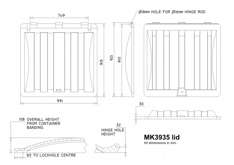 MK3935 Trade Waste Container lid Trade Waste / 4 Wheeled Container Lids drawing
