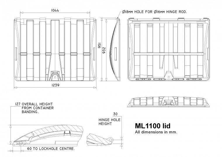 ML1100 1100 Litre Trade Waste Container lid Trade Waste / 4 Wheeled Container Lids drawing