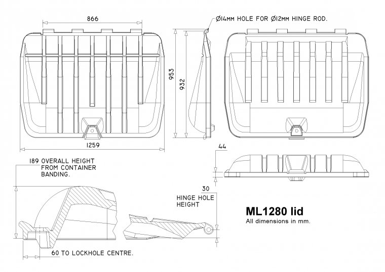 ML1280 1280 Litre Trade Waste Container lid Trade Waste / 4 Wheeled Container Lids drawing