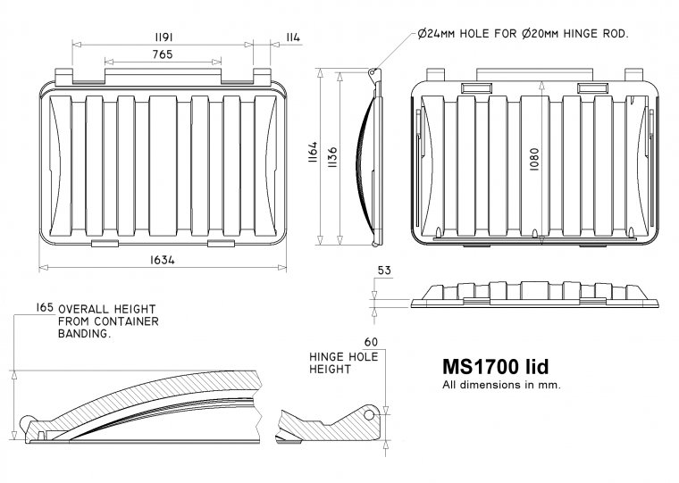 MS1700 Trade Waste Container lid Trade Waste / 4 Wheeled Container Lids drawing
