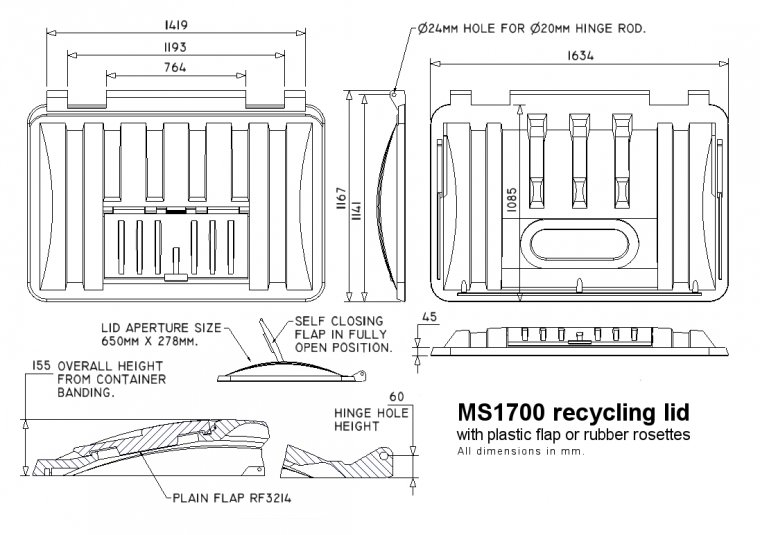 MS1700RM-ROS Recycling lid with rubber rosettes Trade Waste / 4 Wheeled Container Lids drawing