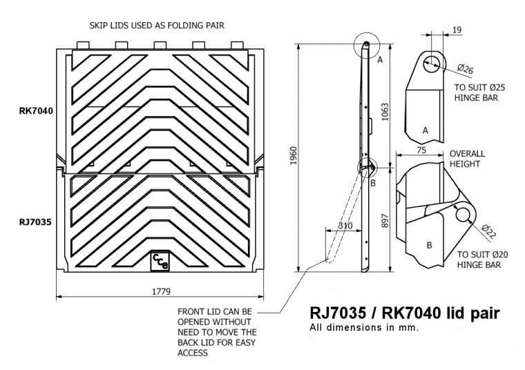 RJ7035-RK7040 Lid Pair for RELs & Skips Skip Lids & Doors drawing