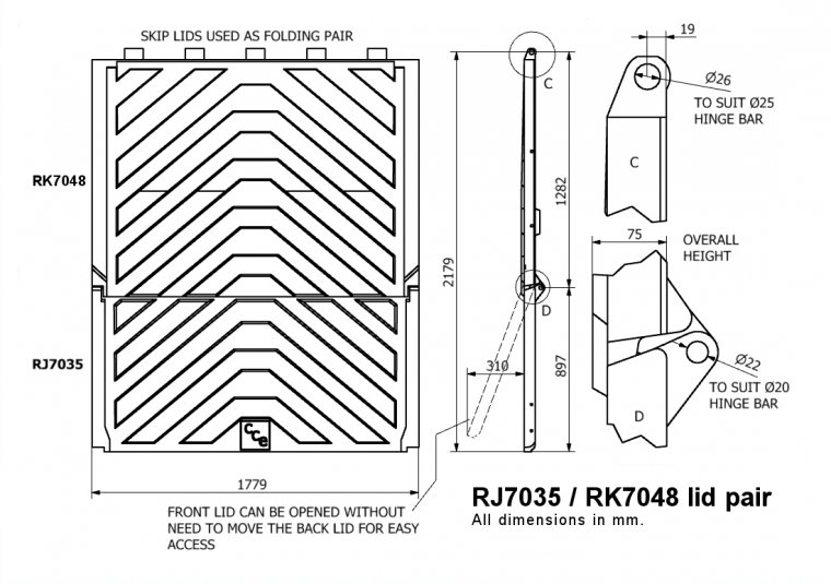 RJ7035-RK7048 Lid Pair for RELs & Skips Skip Lids & Doors drawing