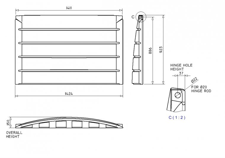 SH5635 Side Hinged Front End Loader lid Front End Loader Lids & Doors drawing